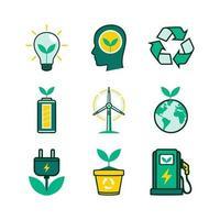 collection d'icônes éco technologie verte vecteur
