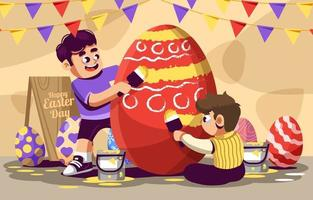 garçons s'amusent à peindre l'oeuf de Pâques rouge vecteur