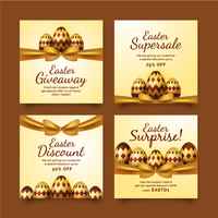 vente de fête de pâques dorée publication sur les médias sociaux vecteur