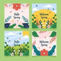 bonjour printemps carte de voeux vecteur