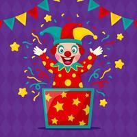 clown drôle dans un style design plat vecteur