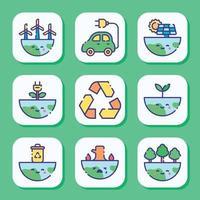 jeu d'icônes de jour de la terre vecteur