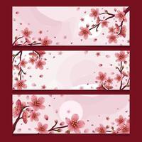 collection de bannière de fleur de chery vecteur