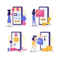 achats en ligne mobiles à domicile vecteur