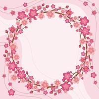fleur de cerisier avec fond rose vecteur