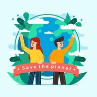 sauver le concept de conception de la planète vecteur