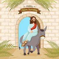 Jésus-Christ chevauche un âne à la porte de jérusalem vecteur