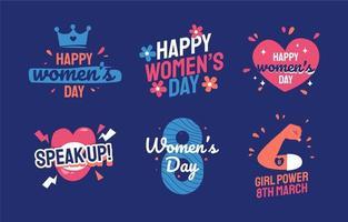 collection d'étiquettes d'autocollants pour la journée des femmes colorées vecteur