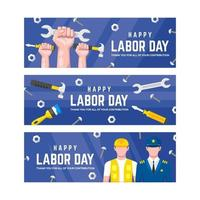 collection de bannières de la fête du travail au design plat