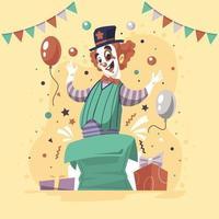 personnage de clown en couleur rétro vecteur