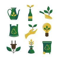 environnement et jeu d & # 39; icônes respectueux de l & # 39; environnement vecteur