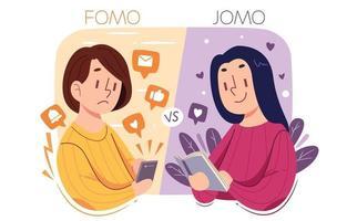 Comparaison fomo vs jomo vecteur