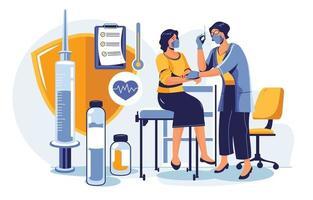 vaccination pour le concept de protection de la santé médicale vecteur