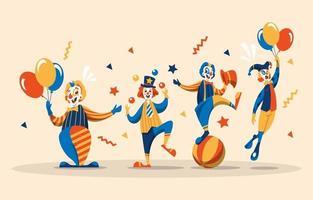 collection de personnages de clown dans une couleur rétro vecteur