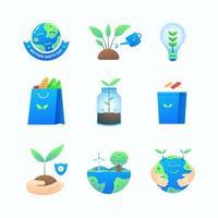 collection d'icônes du jour de la terre vecteur
