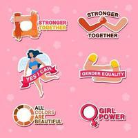 ensemble d & # 39; autocollants de campagne pour la diversité des femmes vecteur