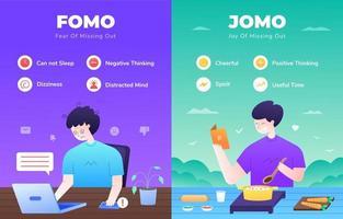 infographie fomo vs jomo vecteur