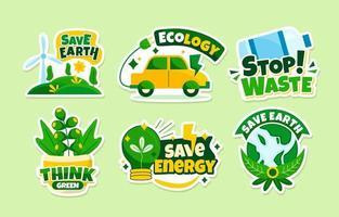 collection d'autocollants de technologie verte vecteur