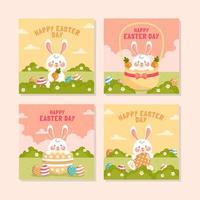 adorable lapin profitant du jour de pâques vecteur