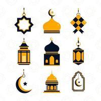 jeu d'icônes eid mubarak vecteur