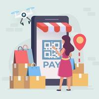 concept de paiement des achats en ligne vecteur