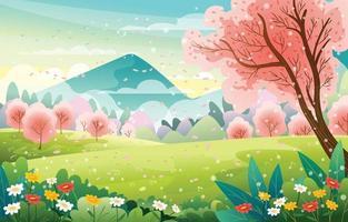 fleur de cerisier dans le paysage de la saison printanière vecteur