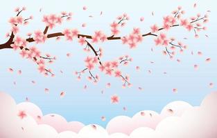 beauté du sakura en fleurs vecteur