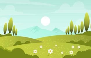 paysage nature printemps vecteur