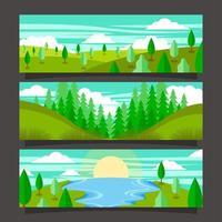 ensemble de conception de bannière de paysage jour de la terre vecteur