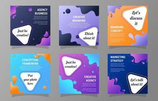 ensemble de publications sur les réseaux sociaux pour les entreprises créatives vecteur
