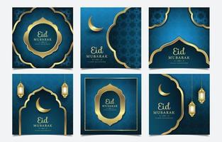 message de médias sociaux moderne heureux eid mubarak vecteur