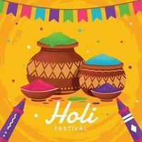 joyeux festival de holi avec fond jaune vecteur