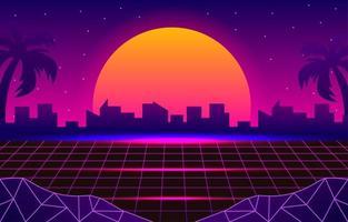 paysage rétro futuriste de 1980 vecteur