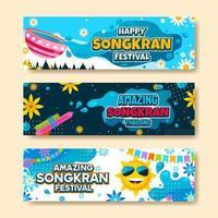 bannière du festival de songkran heureux vecteur