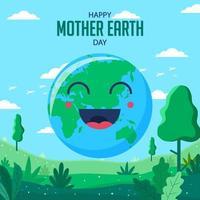 dessin animé heureux jour de la terre mère vecteur