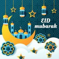 concept eid mubarak avec éléments décoratifs vecteur