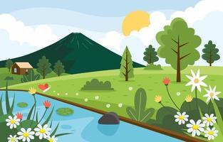 paysage de printemps nature vecteur