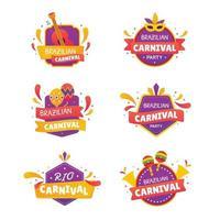 étiquette de fête de carnaval de rio vecteur