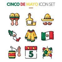 collection d'icônes cinco de mayo vecteur