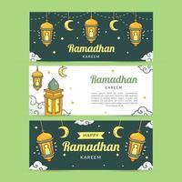 ensemble de bannière ramadan dessiné à la main vecteur
