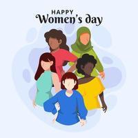 conception de la journée des femmes heureux vecteur