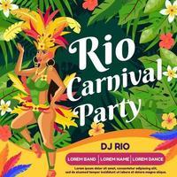 affiche d'invitation à la fête du carnaval de rio vecteur