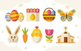 collection d & # 39; icônes plat de pâques