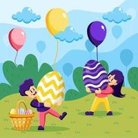garçon et fille portent un concept d'oeuf de pâques géant vecteur