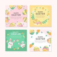 adorable et charmant lapin de Pâques et oeufs vecteur