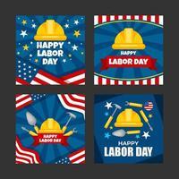 ensemble de modèles de cartes de fête du travail