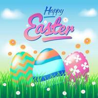 Oeuf de Pâques peint sur l'herbe dans une rangée vecteur