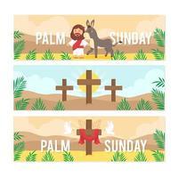 Jésus voyageant avec un âne répandant l'amour dimanche des palmiers vecteur