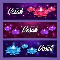 lotus étincelants le jour du vesak vecteur