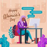 conception de femmes hijab dans son concept de bureau vecteur